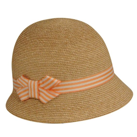 Simple straw cloche hat with peach stripe ribbon- very 1920s summer style. http://www.vintagedancer.com/1920s/