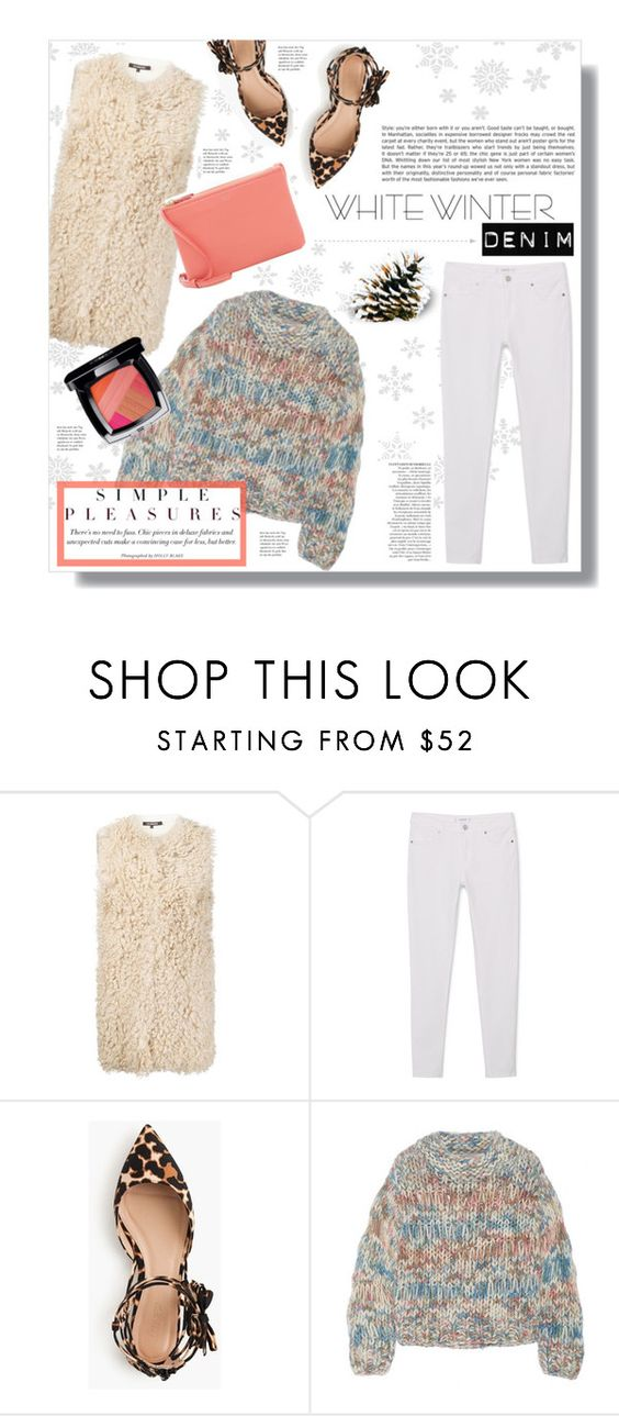 """""""On Trend: Winter White Denim"""" by miee0105 ❤ liked on Polyvore featuring Tess Giberson, MANGO, J.Crew, Chloé, CÉLINE, Chanel and Anja"""