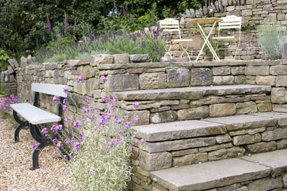 Dry Stone Walls, Stone Steps and Stone Features / repinned on Toby Designs