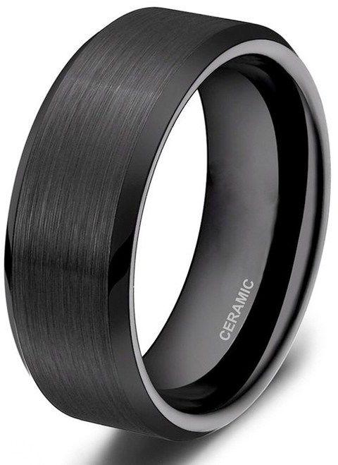 8mm Unisex Or Men S Ceramic Wedding Bands Black Brushed Ring Comfort Fit By Zz Seller Savings Direct Mens Ceramic Wedding Bands Ceramic Wedding Bands Mens Wedding Rings Black