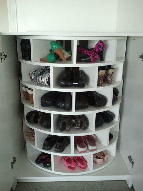 Lazy susan for shoes.. brilliant.