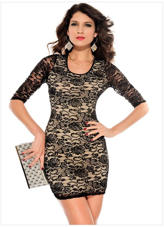 Lace round neck half sleeve dress