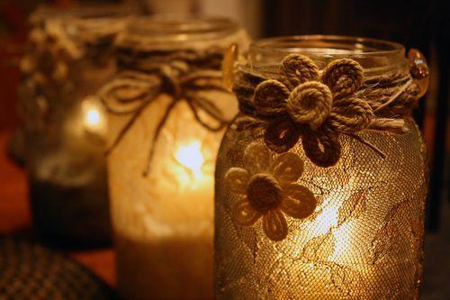 Beautiful lace covered mason jars