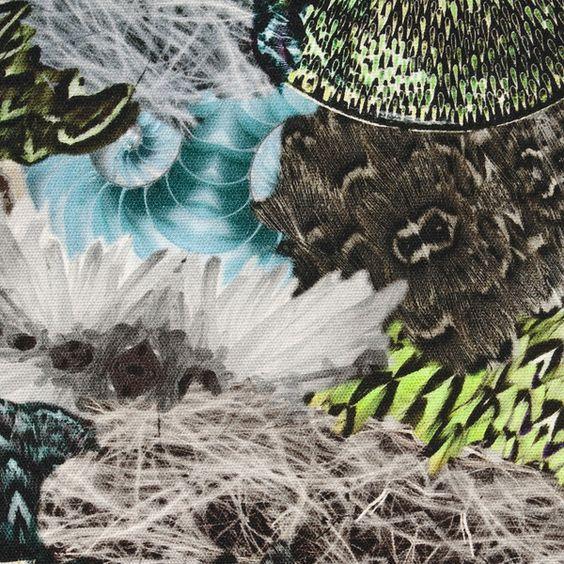 Canvas-Stoff, reine BW, Federdruck, bunt (1-005) von Das Blaue Tuch auf DaWanda.com