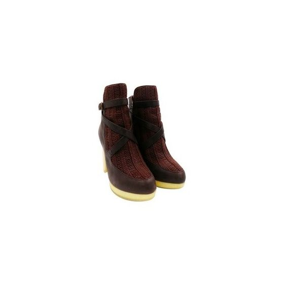 """Australia Luxe Brown """"Mercy"""" Leather Knit Chunky Sz 7 Booties ($130) via Polyvore featuring shoes, boots, ankle booties, brown leather booties, round toe booties, leather buckle boots, brown buckle boots and brown leather boots"""