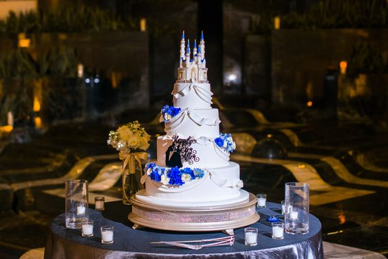 Cinderella inspired wedding cake  at a recent Cescaphe wedding.  Photo Credit: Soult Photography