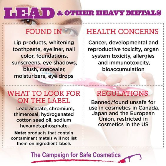 Heavy metals like lead, arsenic, mercury, aluminum, zinc, chromium and iron are found in a wide variety of personal care products including lipstick, whitening toothpaste, eyeliner and nail color. Some metals are intentionally added as ingredients, while others are contaminants. Exposure to metals has been linked to health concerns including reproductive, immune and nervous system toxicity.  Learn more and share this post: bit.ly/leadCSC  #safecosmetics #humanhealth #heavymetals