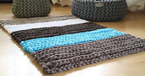 Teppich aus NewLine Textilgarn  Stricken,Häkeln  Pinterest