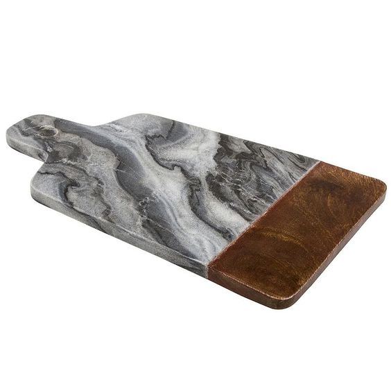 Thirstystone Marble Serving Board with Wood Accent, Multicolor