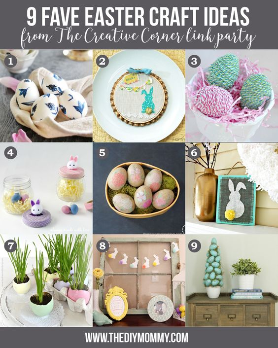 9 Easter Crafts + The Creative Corner #89: DIY, Craft & Home Decor Link Party