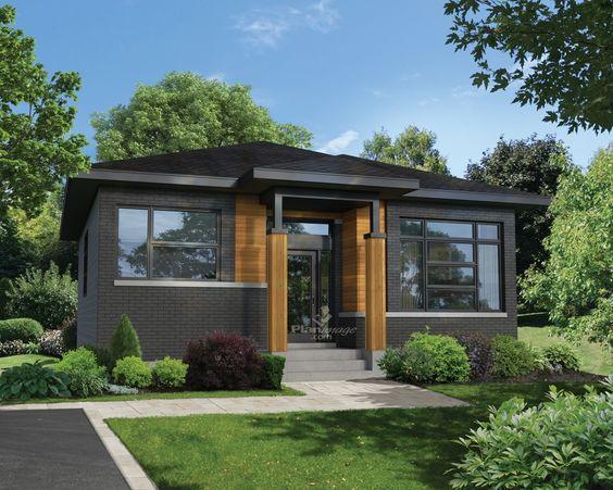 cette petite maison de plain pied de style urbain poss de une entr e surmont e d un porche avec. Black Bedroom Furniture Sets. Home Design Ideas