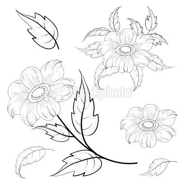 B inchies: Rose Flowers, Dahlia Flowers, Flower Leaves, Red Rose, Flowers Leaves, Contour Drawings, Calendars Flowers
