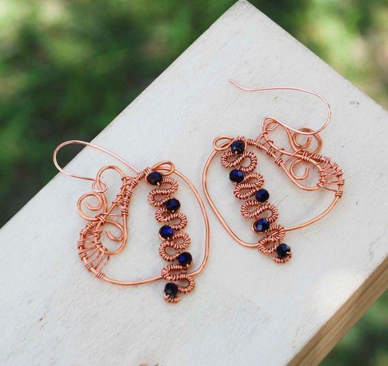 My Swirl Spiral Heart Beautiful Copper Wire Wrap Purple Crystals Love Earrings #Jeanninehandmade #Wrap