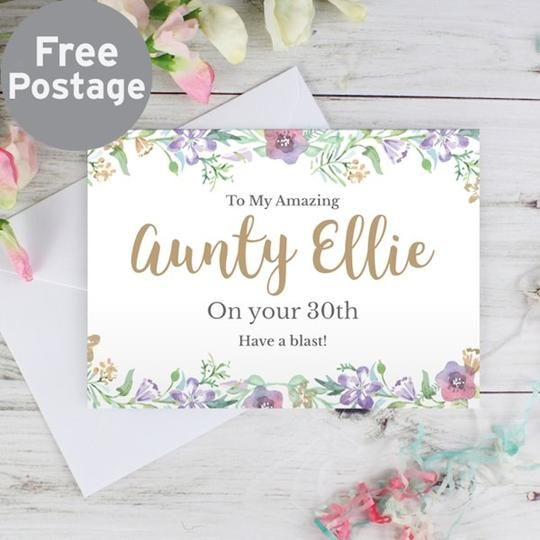 Personalised Gold Floral Watercolour Card Personalized Greeting Cards Watercolor Cards Cards