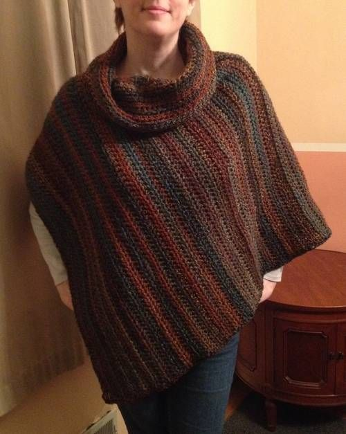 Free Crochet Patterns For Cowl Neck Poncho : Cowl Neck Poncho - CROCHET Ponchos, Shawls, Scarves ...