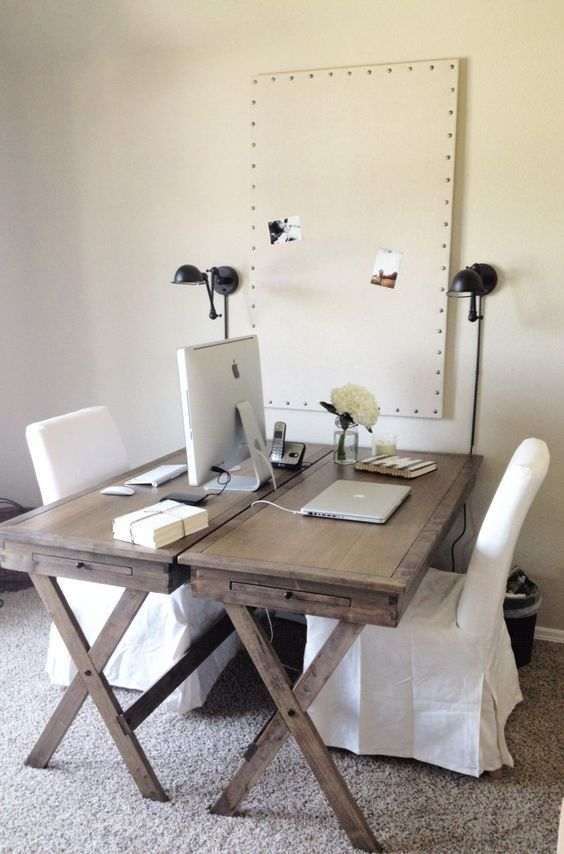 Home Office Dual Desk Setup: Double Desk/chair Set Up