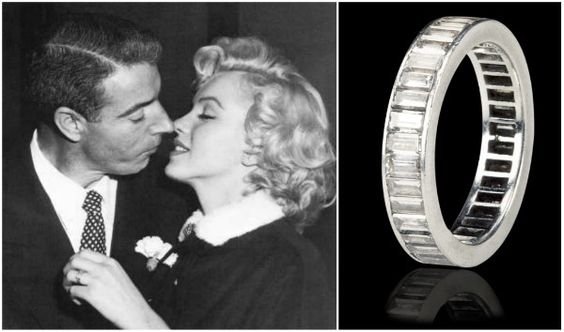 The wedding ring Joe DiMaggio gave Marilyn Monroe when they wed in 1954- a platinum eternity band set with 35 baguette-cut diamonds.