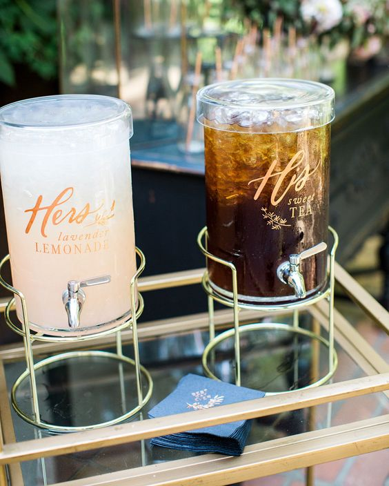 Elegant and creative wedding cocktail idea with his and her lemonade and ice tea