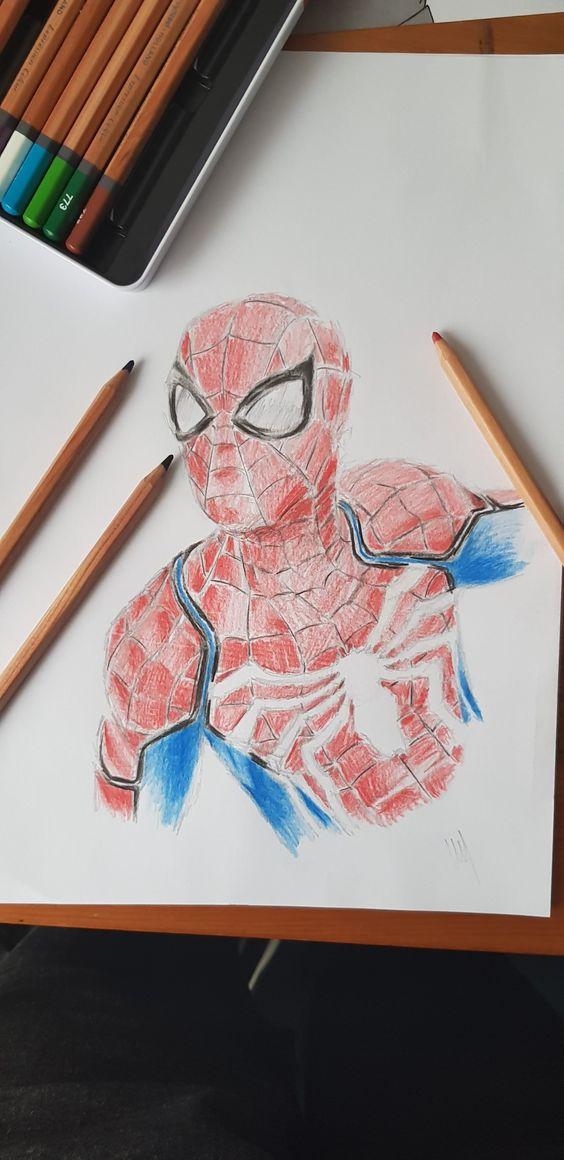 Spiderman Ps4 Coloured Pencil Zeichenvorlagen Zeichnen Marvel
