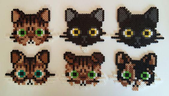 Perler Bead Cat Heads by NappingCatStudios