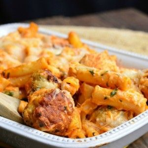 Chicken Meatball Baked Ziti - Will Cook For Smiles