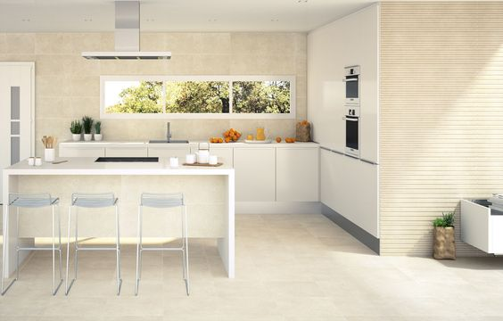 Pavimento para cocinas de dimensiones 44,7  44,7 disponible en dos diferentes tonos con múltiples posibilidades de combinación de revestimiento.