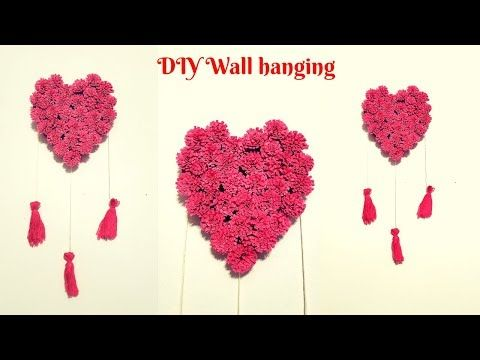 Diy Wall Hanging Wall Decoration Ideas Valentine S Day Gift Ideas Crafts With Paper Youtube Wall Hanging Diy Diy Wall Wall Hanging