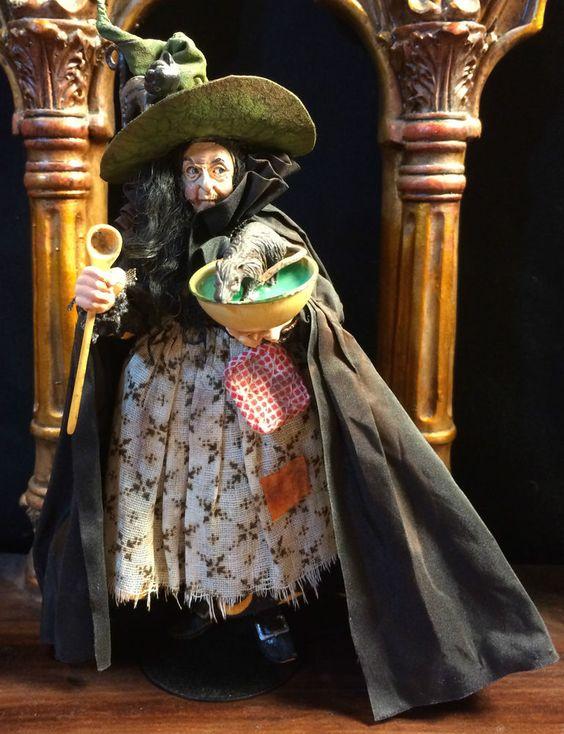 Dollhouse Miniature Halloween WITCH Doll by Marcia Backstrom 1:12th OOAK