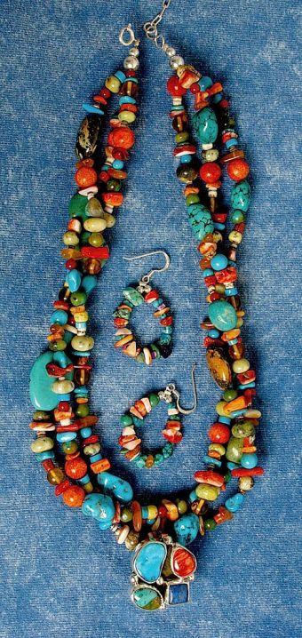 Chunky  Rainbow Necklace & Earring Set; Southwest Indian Foundation