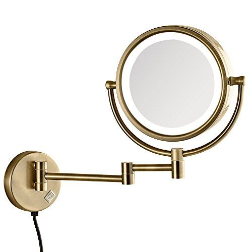 Gurun Led Lighted Makeup Mirror Wall Mounted With 10x Magnification Antique Brass Finished Makeup Mirror With Lights Makeup Mirror Wall Mounted Makeup Mirror