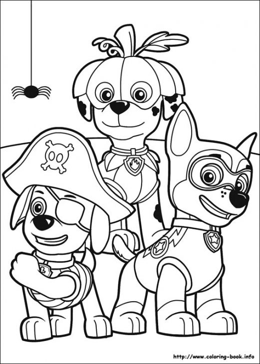 paw patrol puppies in halloween costume coloring page