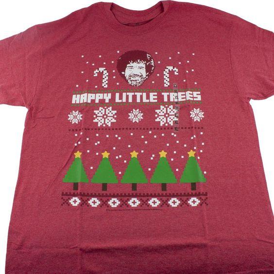 Bob Ross Happy Little Trees Ugly Christmas T-Shirt Adult L XL 2XL Red #BobRoss