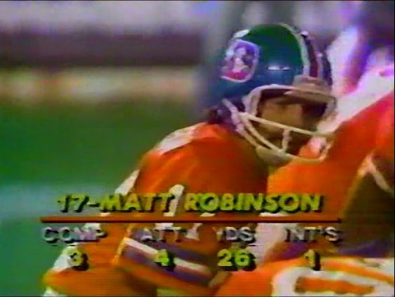 "MATT ROBINSON as he appeared on ""Monday Night Football"" on October 13, 1980 as a starter instead of Craig Morton. Matt was brought to Denver after three seasons with the New York Jets. Unfortunately, Matt didn't live up to the expectations the Broncos had hoped for, considering that Morton was aging and not very mobile, and lasted only one season in Denver."