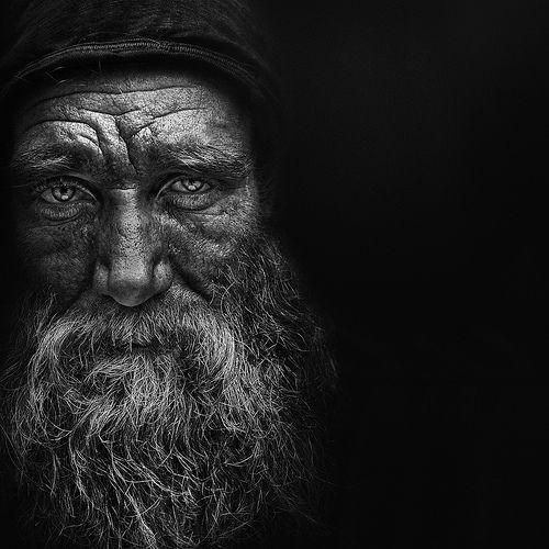 Old man, beard, perhaps homeless ? lines of life, intense ...Old Man Face Beard