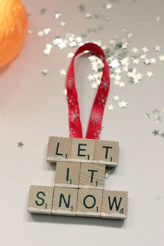 Let it Snow Scrabble Tile Christmas Tree by ReginaldSpleen on Etsy