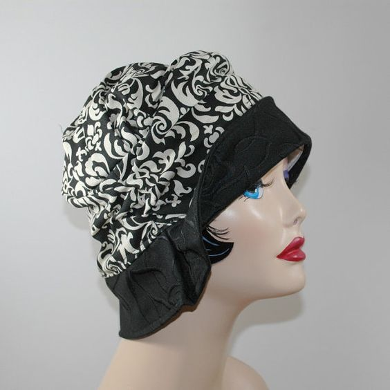 Womens Vintage Inspired Cloche Hat The Alice in Black and Cream