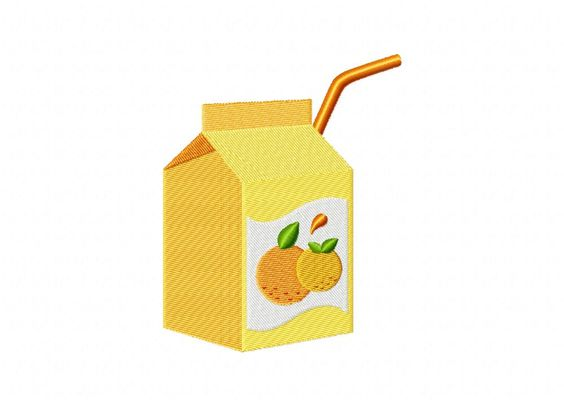 Orange Juice Box Machine Embroidery Design