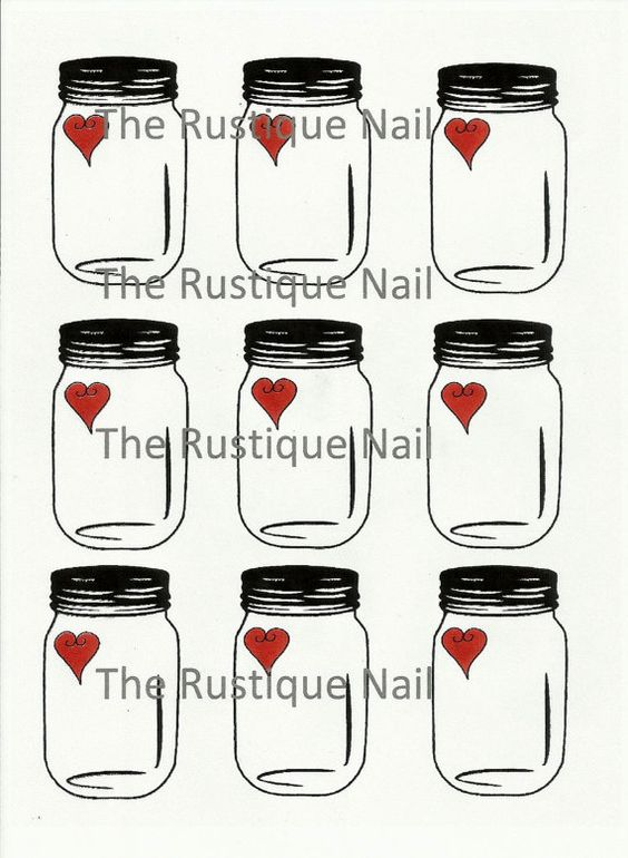 Mason jar with heart hang tags instant download