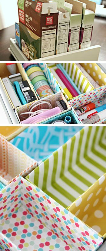 Cereal Box Drawer Dividers - DIY Storage Ideas for Small Spaces - Click for Tutorial: