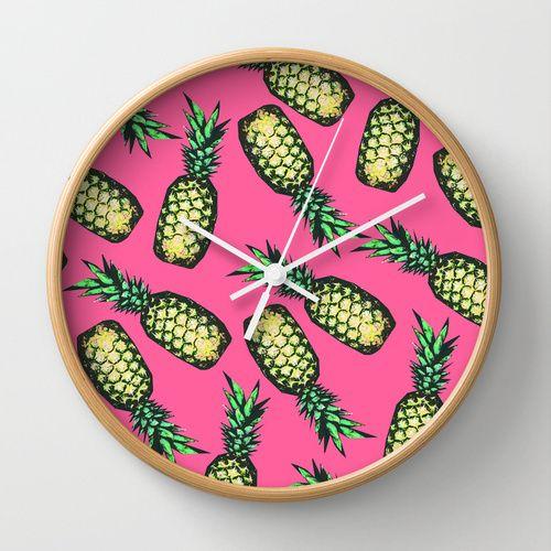 Pineapple Pattern Wall Clock by Georgiana Paraschiv | Society6