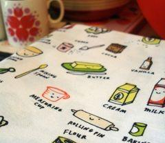 Tea Towel in Let's Bake fabric by Anda