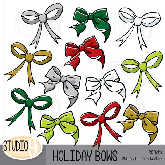 HOLIDAY BOWS Clipart Illustrations CHRISTMAS Clip Art, Instant ...