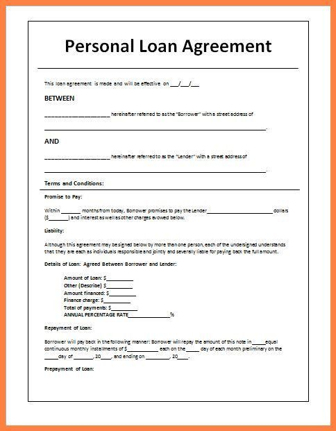 Personal Loan Letter Template In 2020 Personal Loans Contract Template Loan