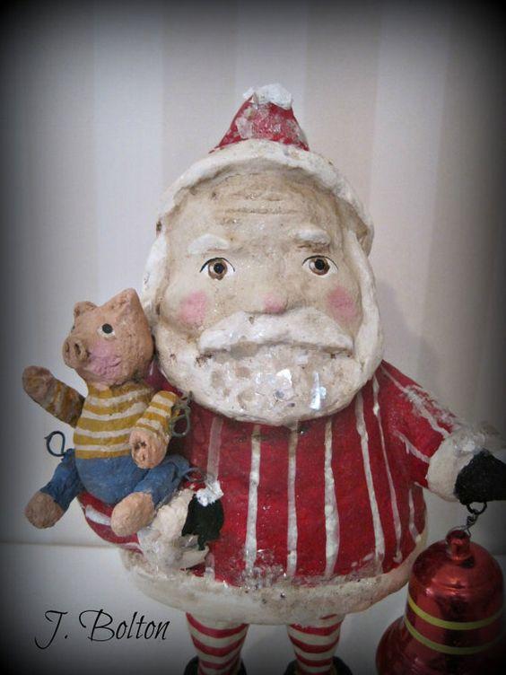 Folk art Santa Claus doll  papier mache folk art OOAK-hand made doll- Christmas