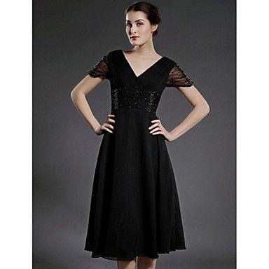 Vestido+Mãe+da+Noiva+com+Gola+em+V+de+Chiffon+–+BRL+R$+304,76