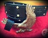Handmade Jet Black Tooled & Silver Studded Pattern Leather Belt with changeable Buckle