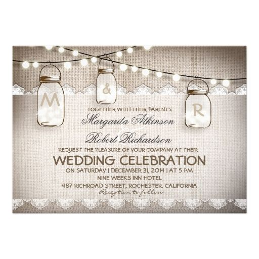 burlap lace string lights and mason jars wedding custom announcements