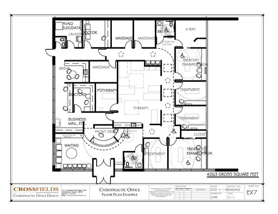 Chiropractic Office Floor Plan #Multi Doctor Office #Physical Medicine And  #Active Therapy 4263 Gross Sq. Ft. Http://www.chiropracticofficedesign.cu2026