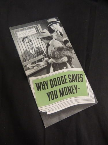Manual Sales Brochure Dodge Saves Money L-Head Red Ram Engine Features Vintage