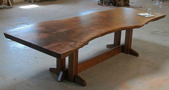Trestle dining table, black walnut | Bjorling Grant